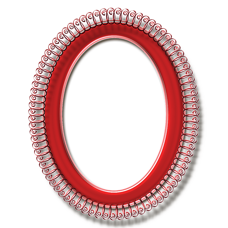 Red Oval Curlicue Frame - Layered PSD and PNG Free Download