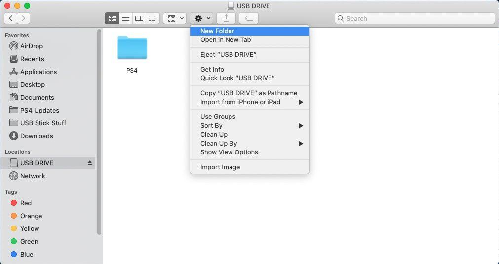 Creating PS4 folder on USB drive.