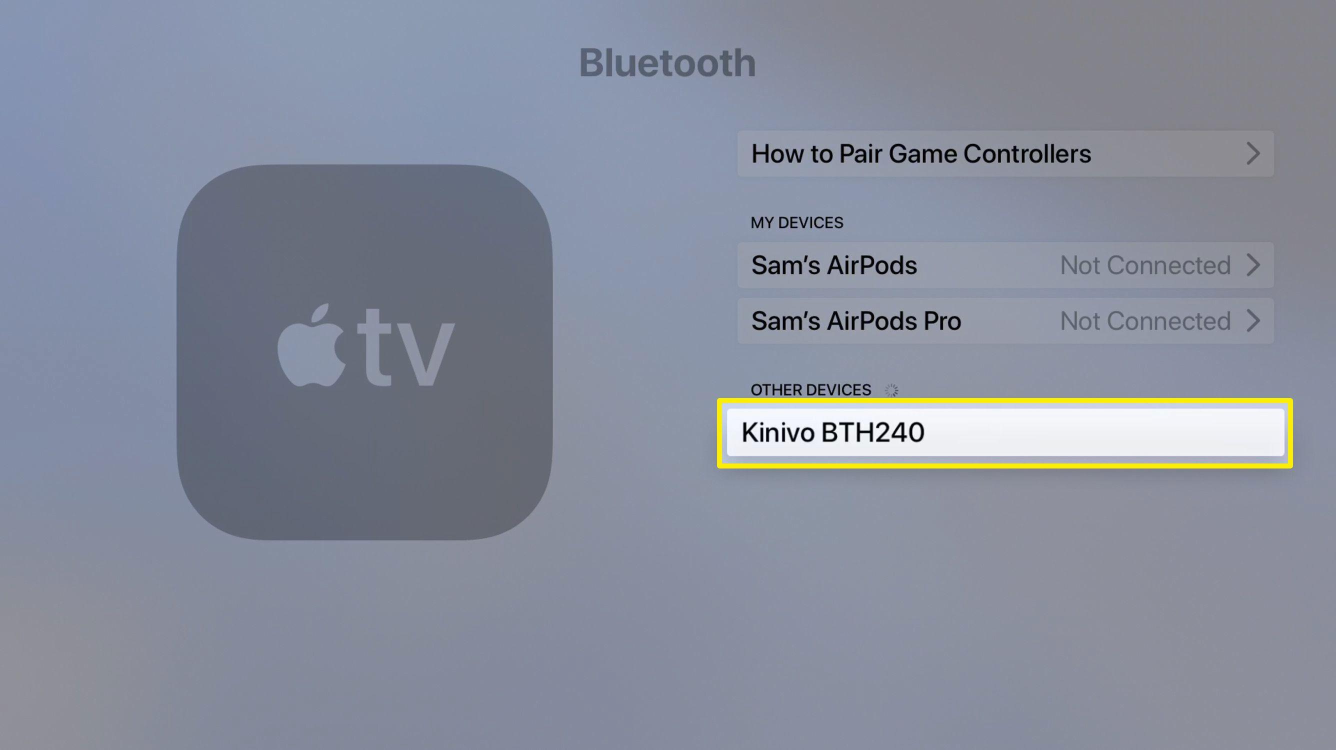 Screenshot of Apple TV Bluetooth devices screen