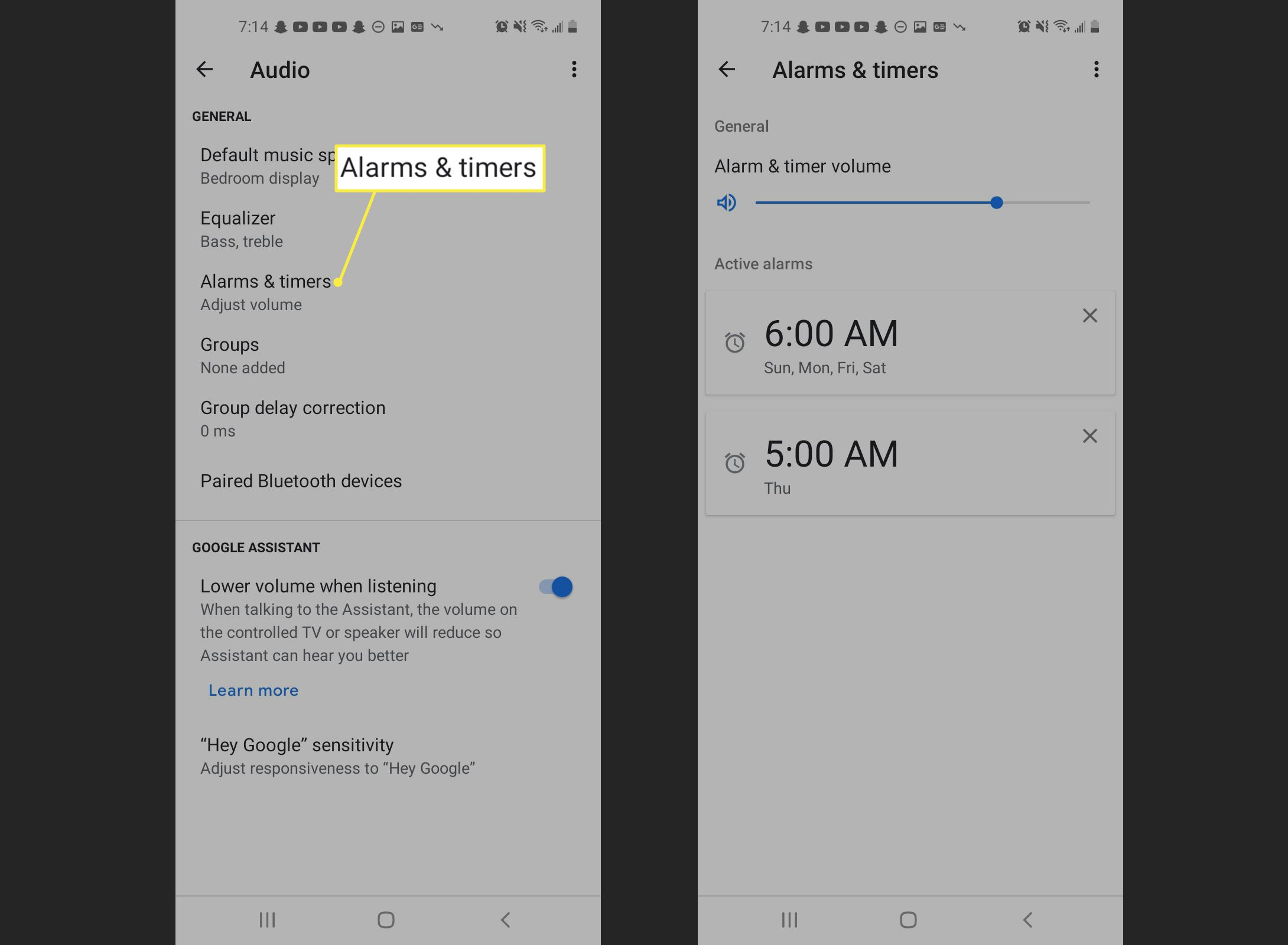 Alarms and timers in the Google Home app