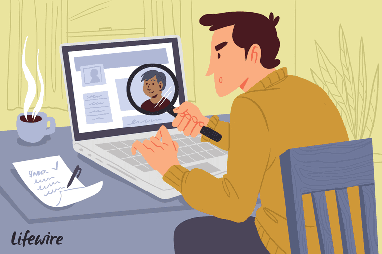 Illustration of a man searching for a person online
