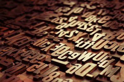 Picture of a collection of antique wooden letters