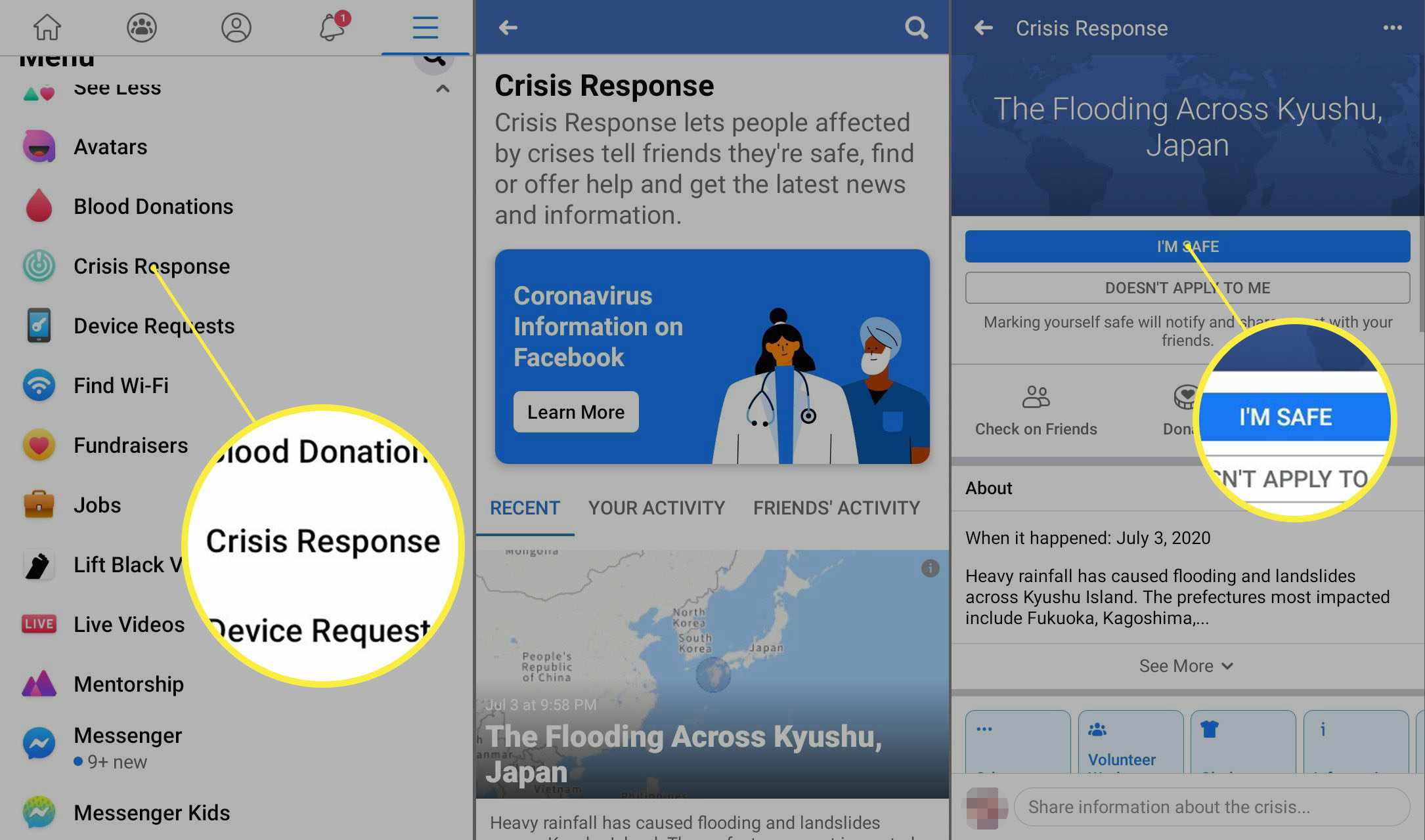 Facebook app for Android Crisis Response page.