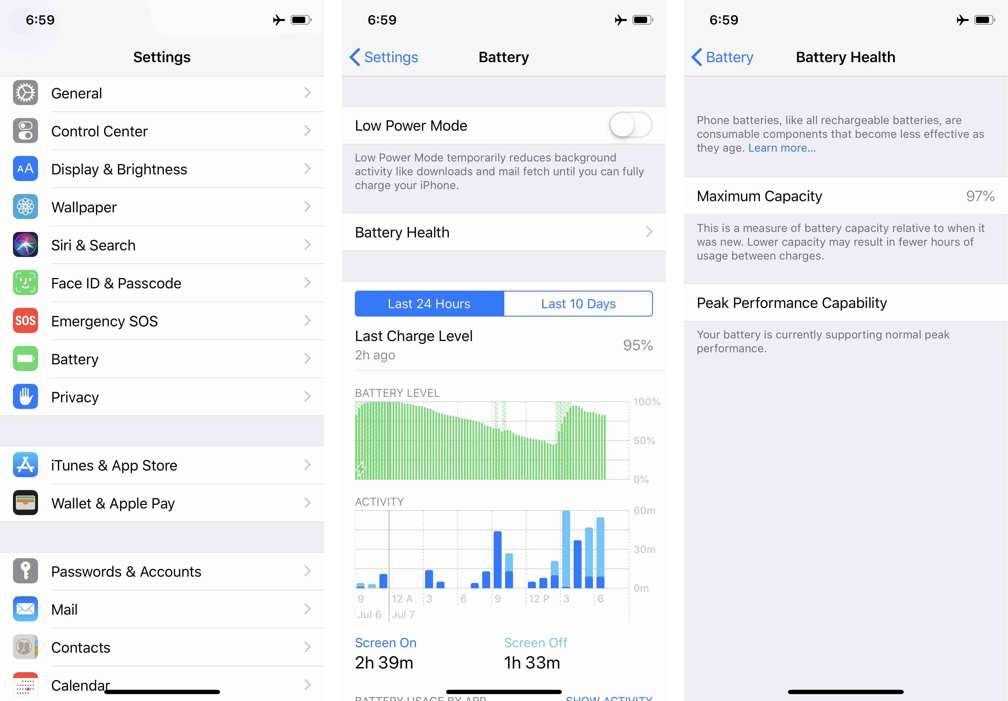 Screenshots of the iPhone Battery Health feature