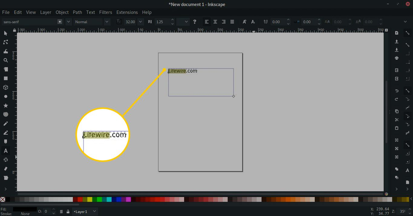 Highlighted text in Inkscape