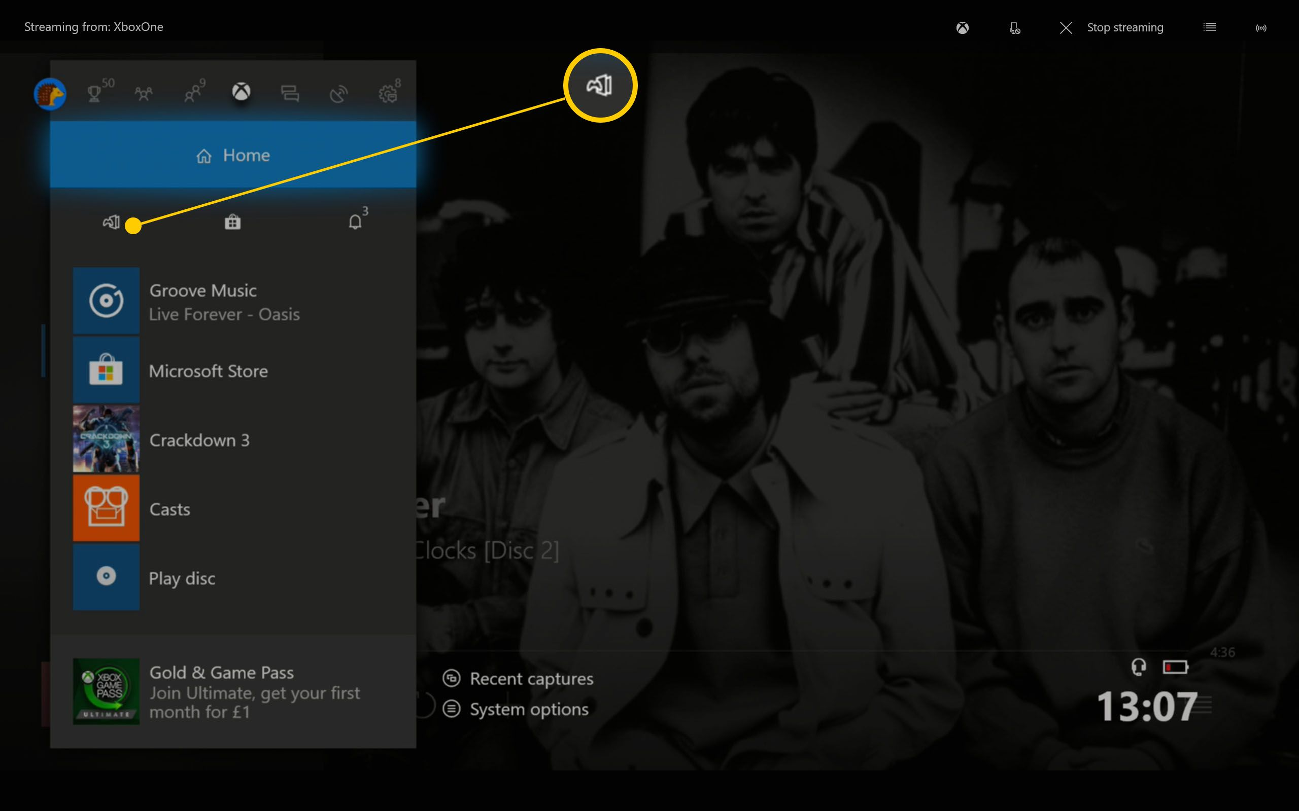 Xbox One Dashboard highlighting My Games & Apps