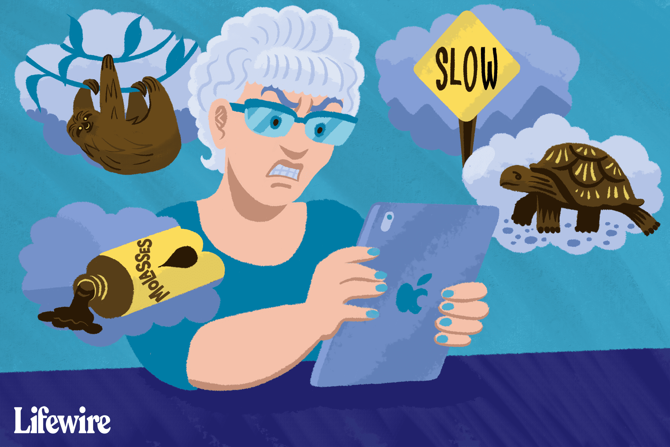 Someone frustrated with their slow iPad, surrounded by pictures of turtles, sloth, molasses, and Slow signs
