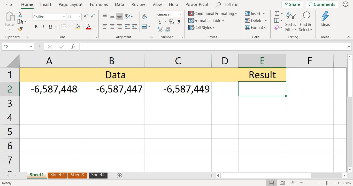 A screenshot showing sample data used with the Excel MIN function