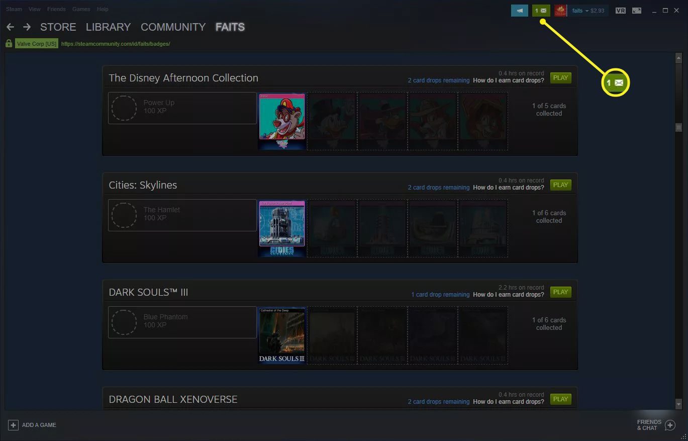 Steam with the envelope icon highlighted
