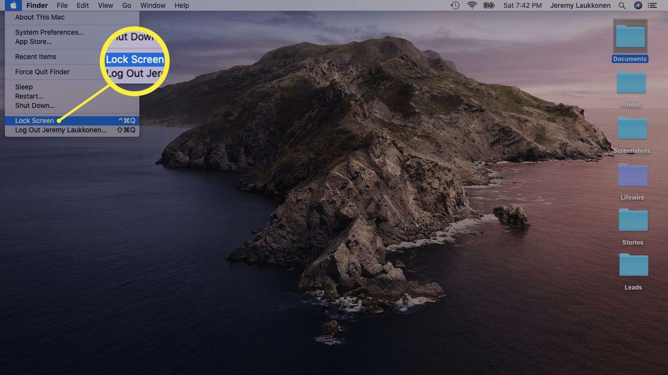 A screenshot of locking a Mac using the Apple menu.