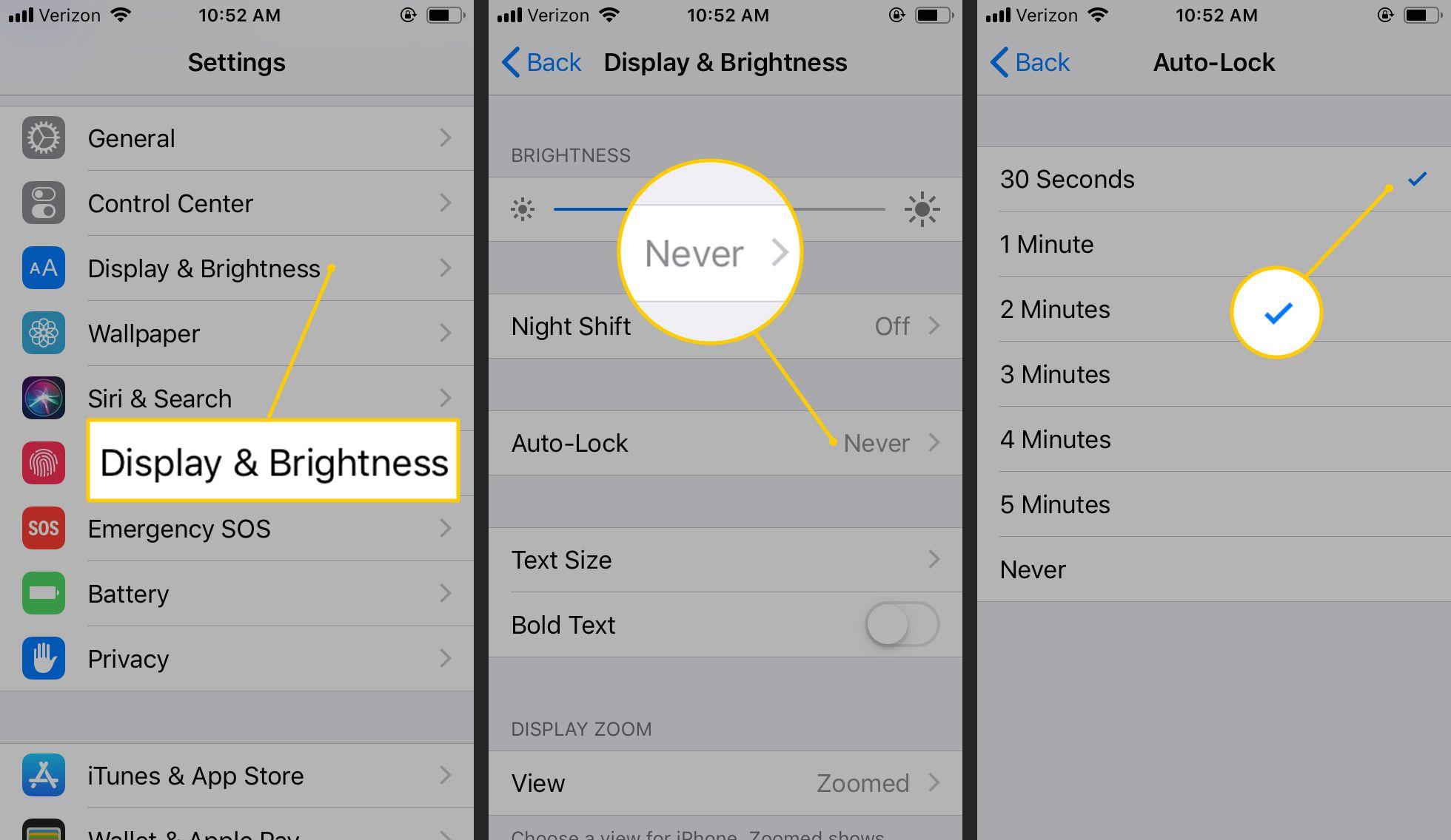Display & Brightness, Auto-Lock, 30 Seconds