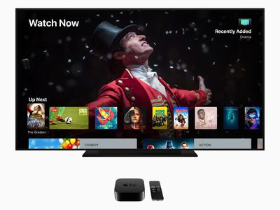 Apple TV showing on a large screen television.
