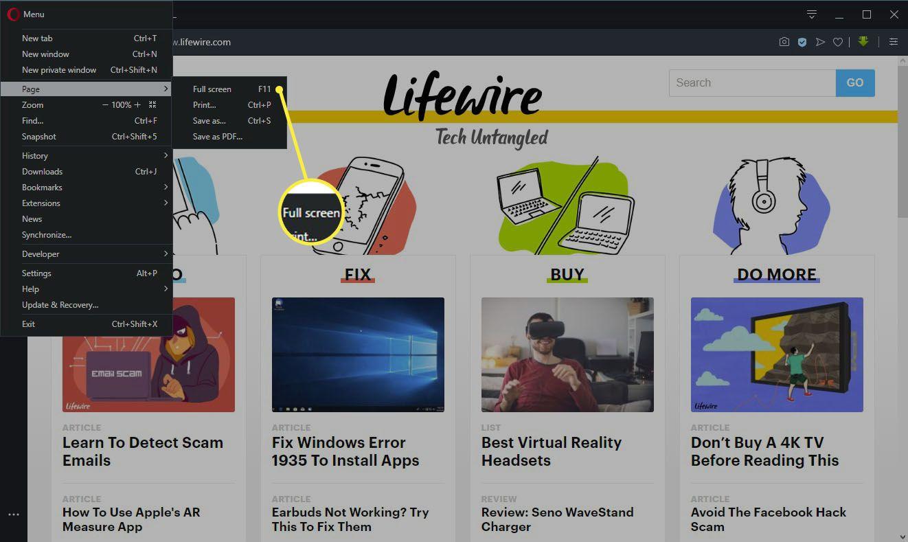 Opera full-screen settings