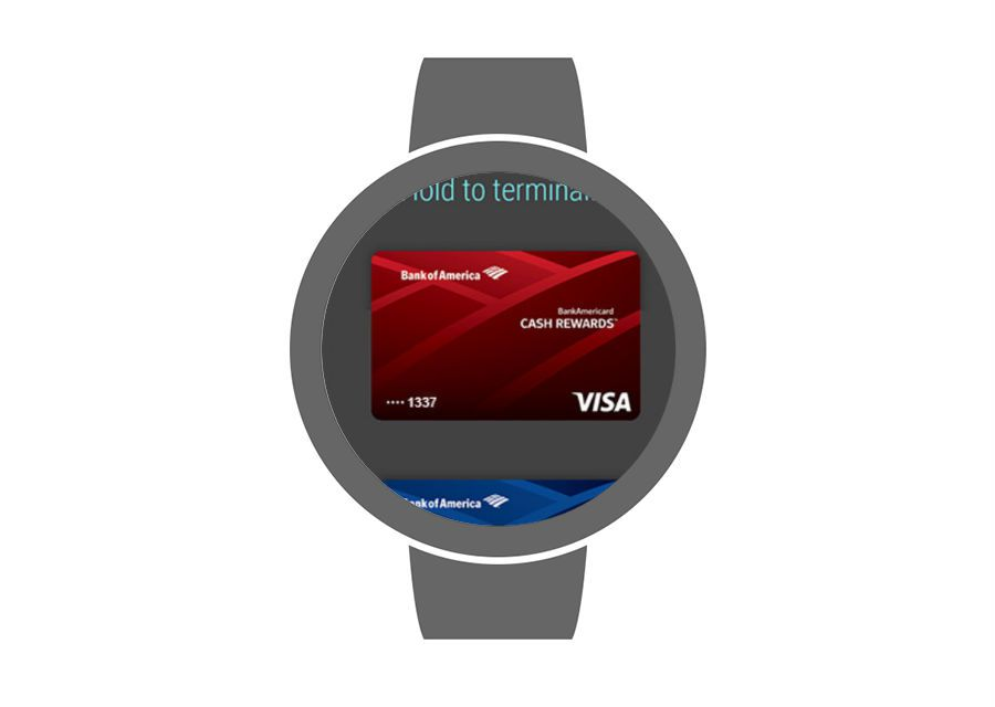 Google Pay on an Android smartwatch.