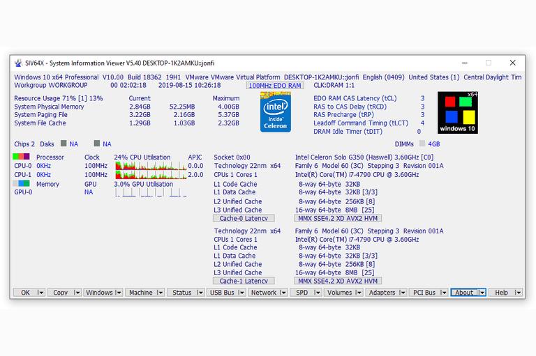 System Information Viewer v5.40 in Windows 10