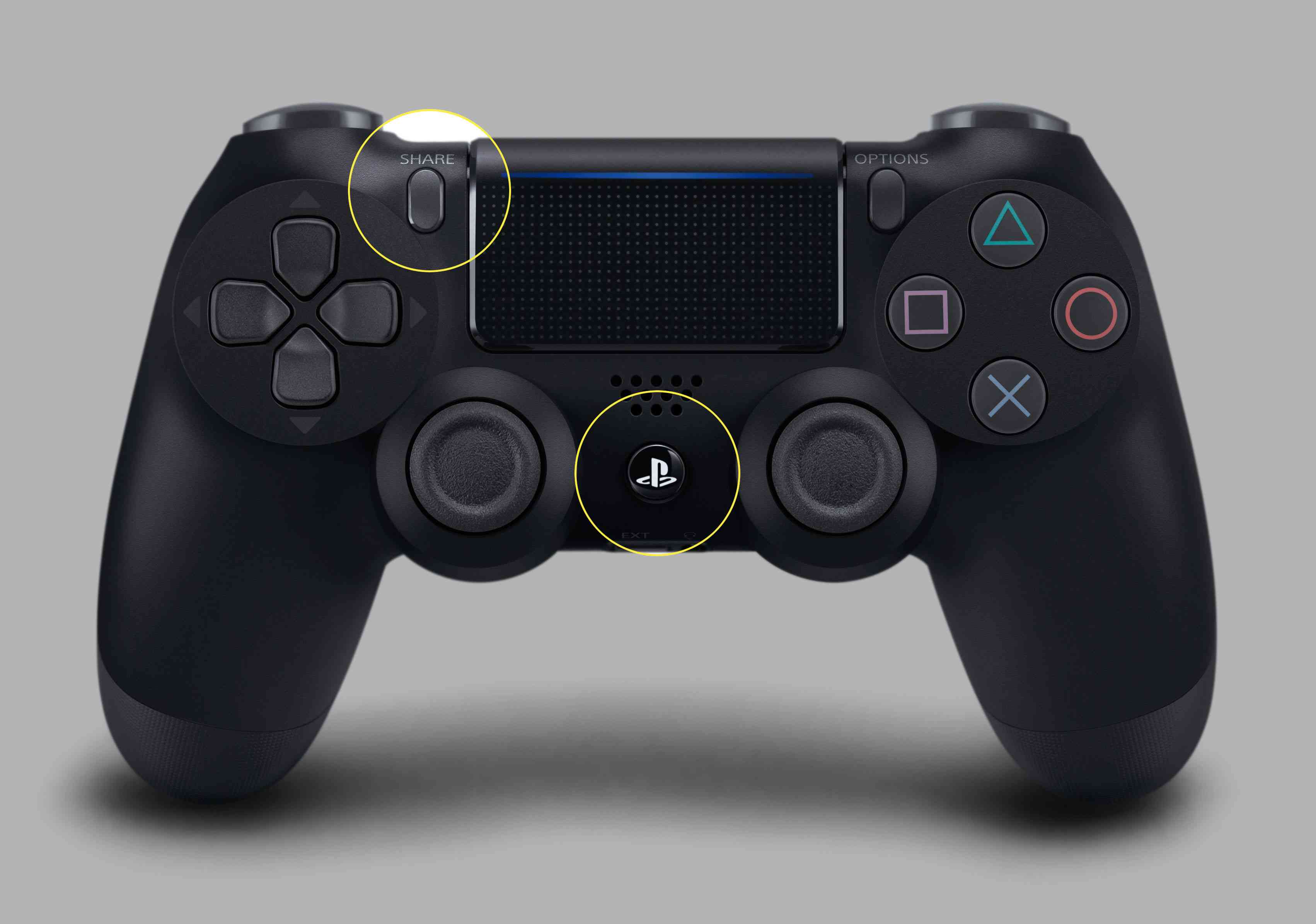 The Share and PS buttons on a DualShock 4