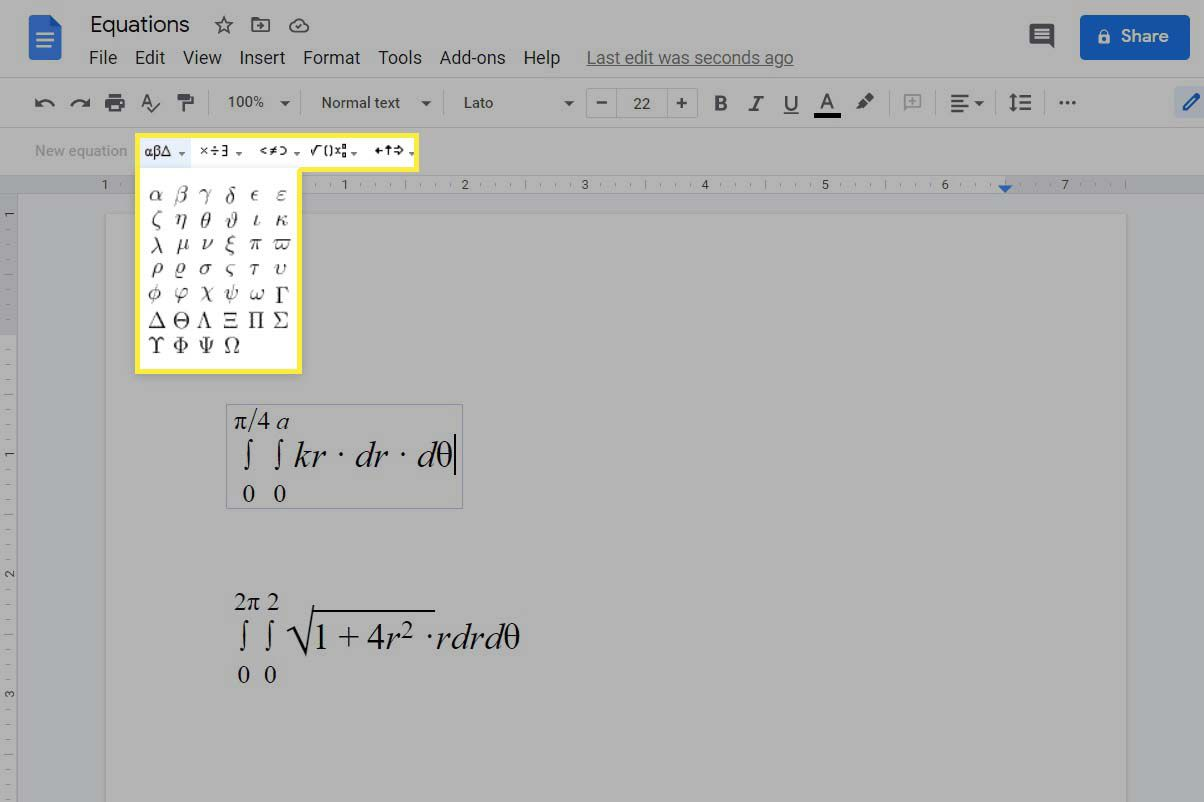 The equation toolbar menu highlighted with example equations in Google Docs.