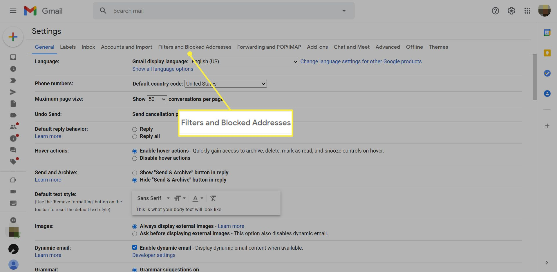 Gmail settings with the Filters and Blocked Addresses tab highlighted