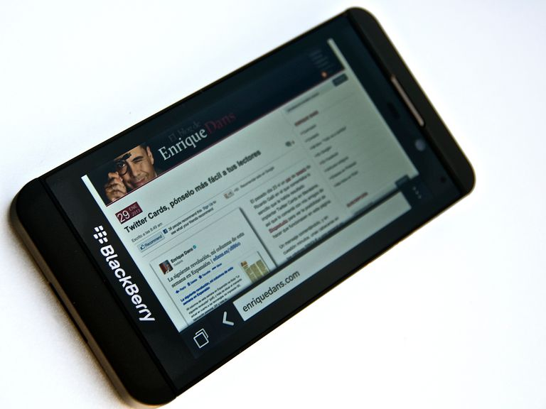 A BlackBerry Z10 smartphone.