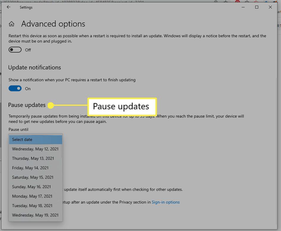 Windows Settings - Pause updates