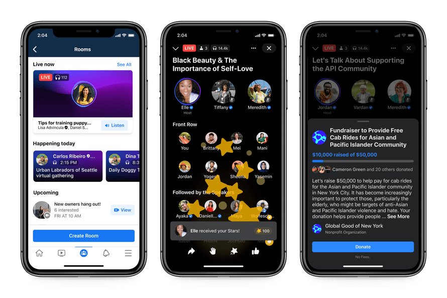 Facebook's Live Audio Rooms on iPhone/iOS
