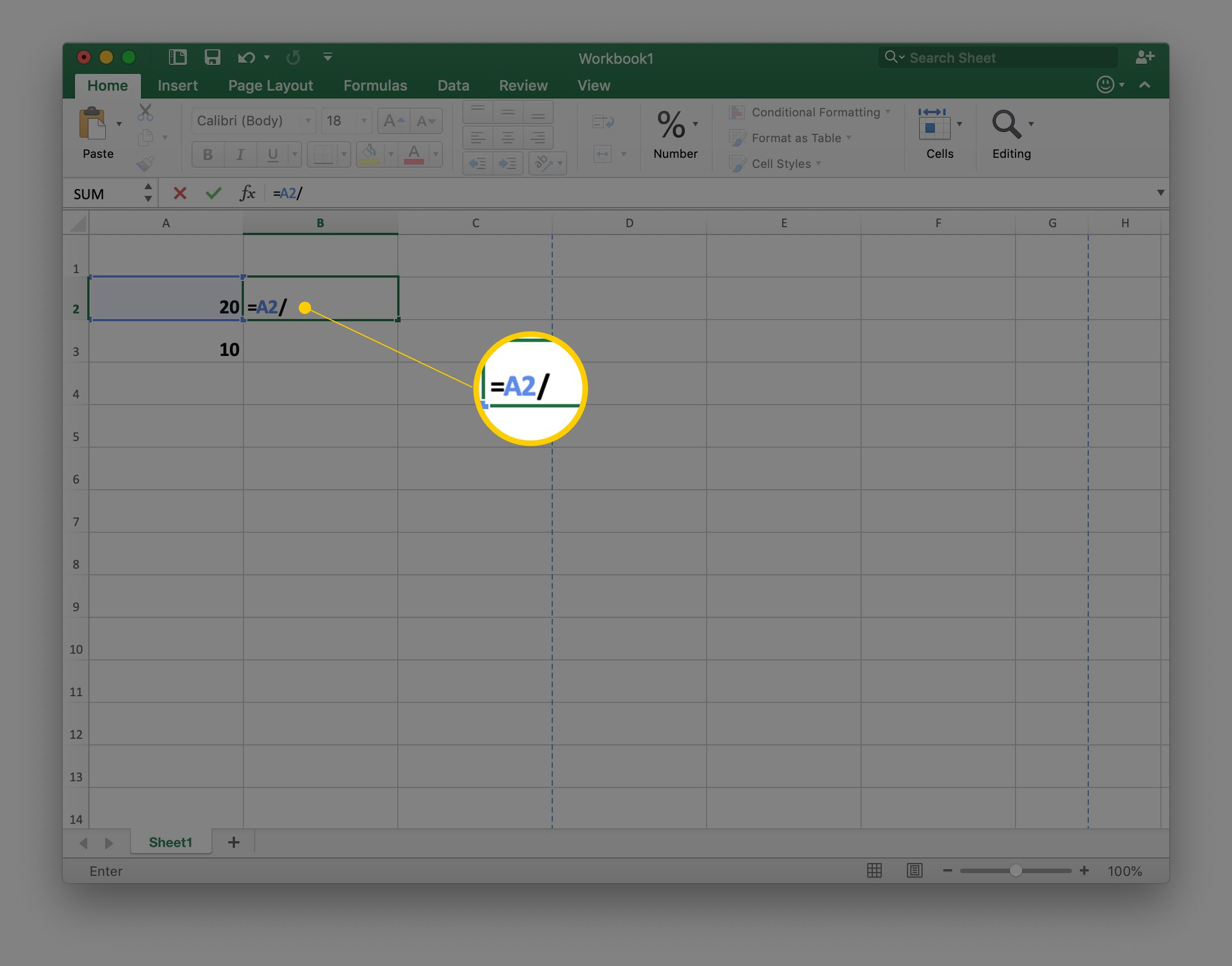 Cell reference A2 and division slash in cell B2 in an Excel spreadsheet