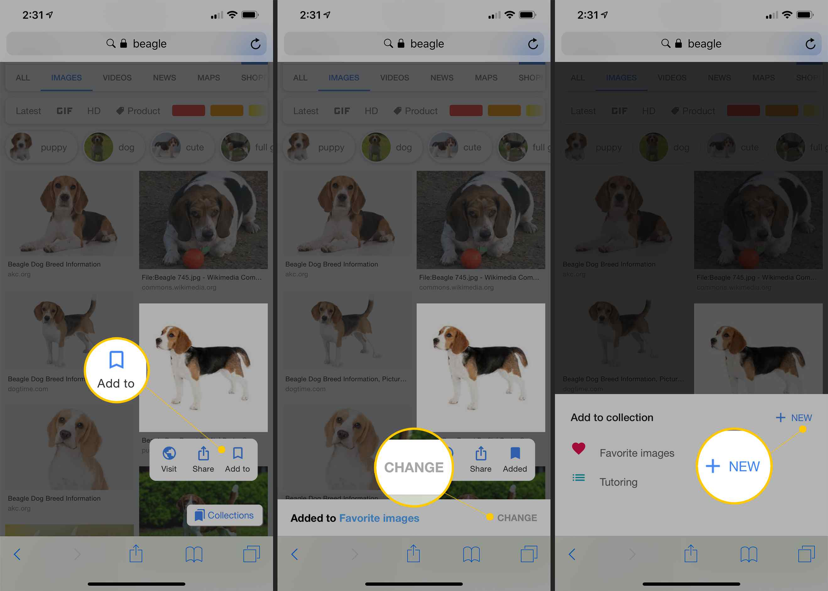 Add to, Change, and +New buttons in Google Images on iOS
