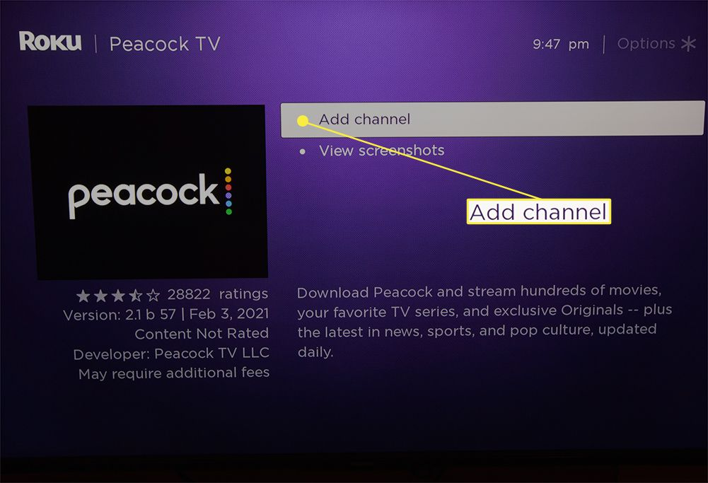 Add channel option highlighted from Peacock app on Roku TV