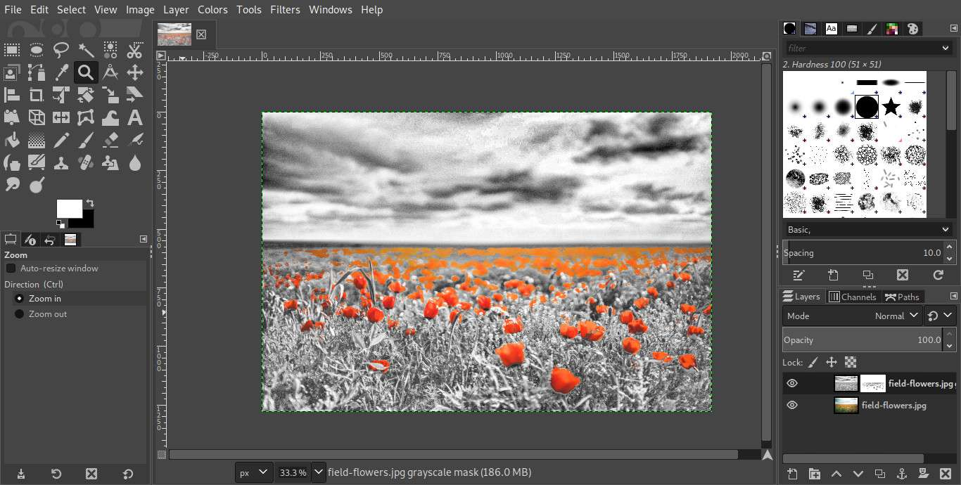 GIMP with colors cut out