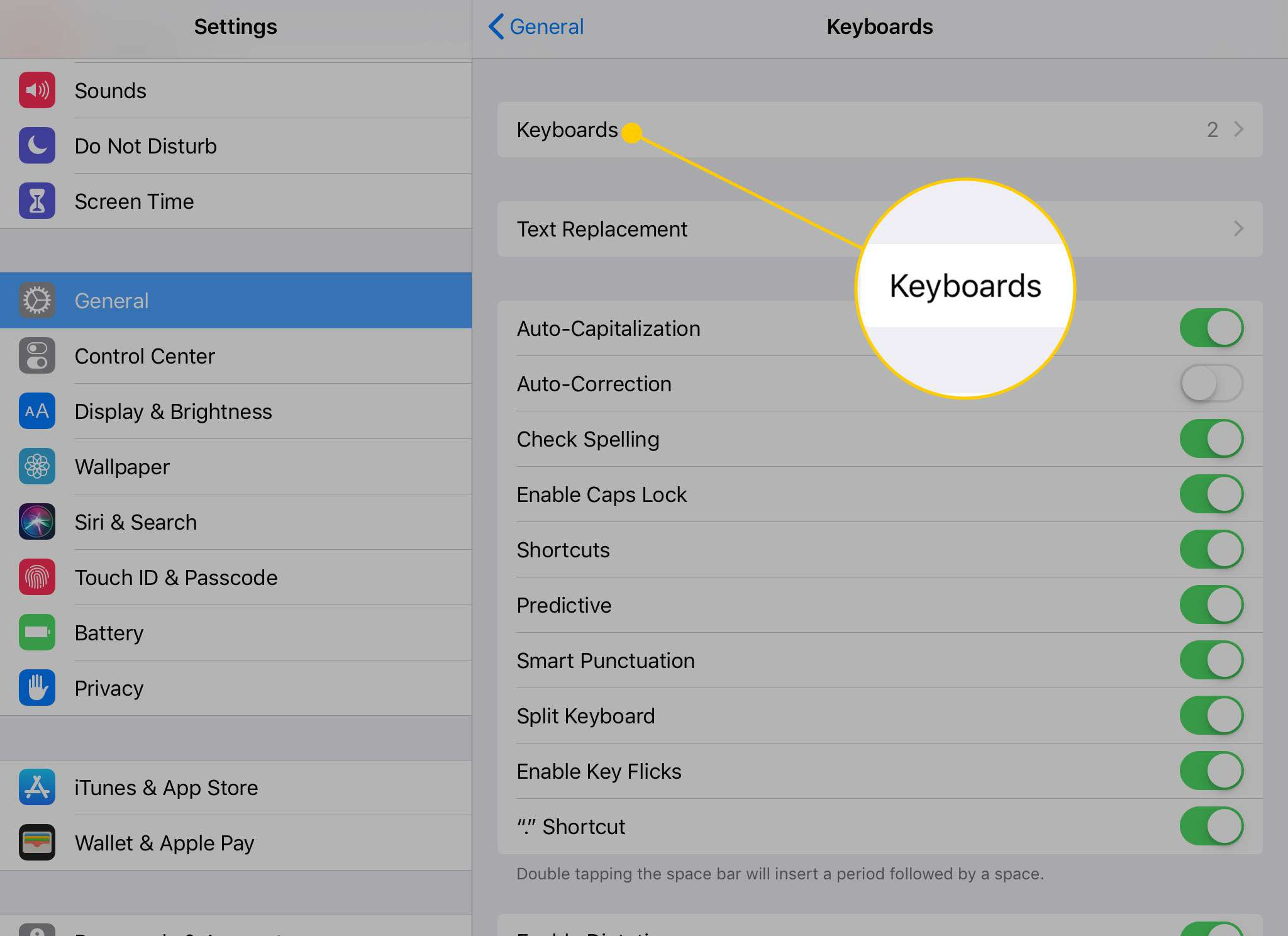 Keyboards settings on the iPad with the Keyboards heading highlighted