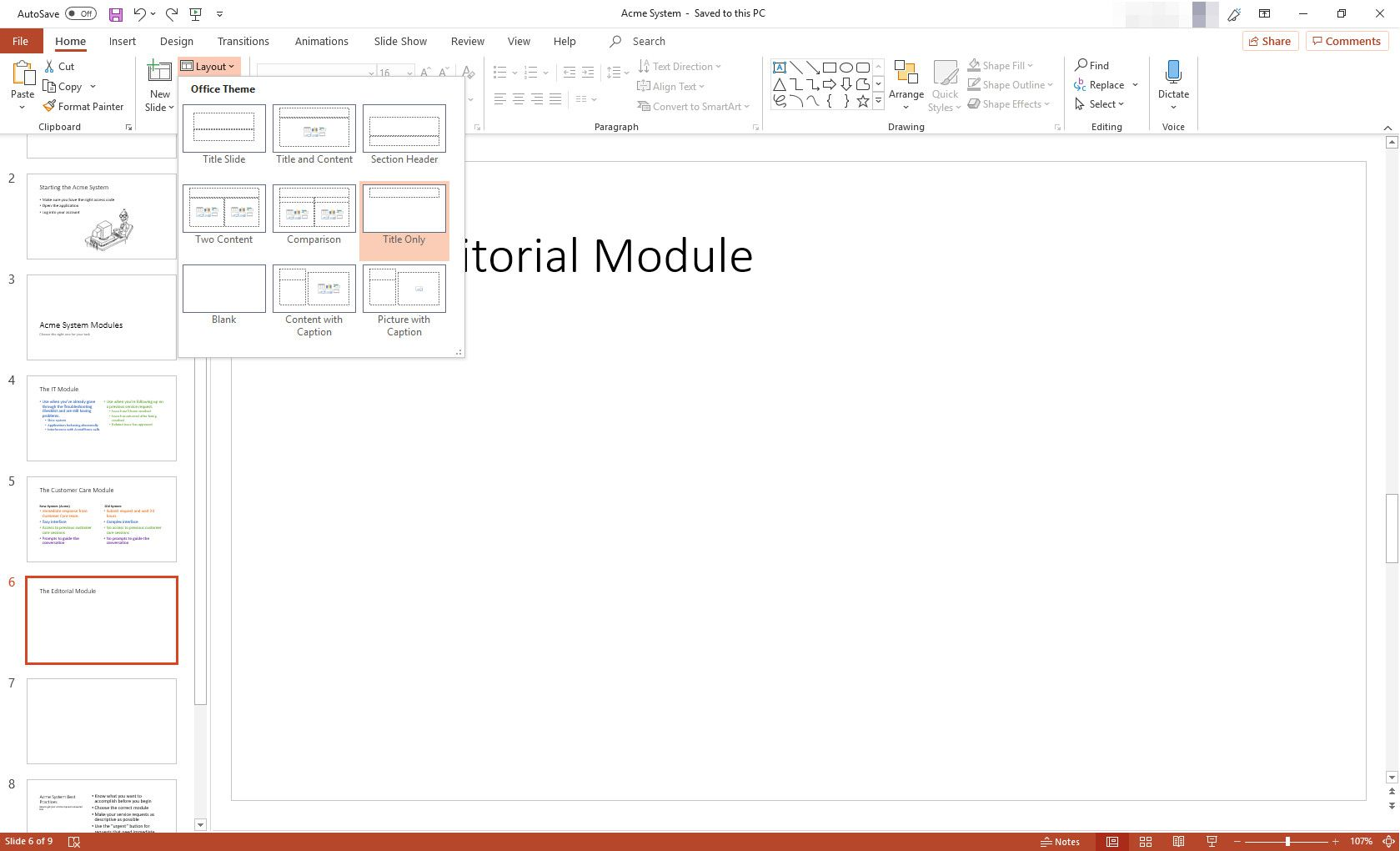 MS PowerPoint presentation with layout options displayed