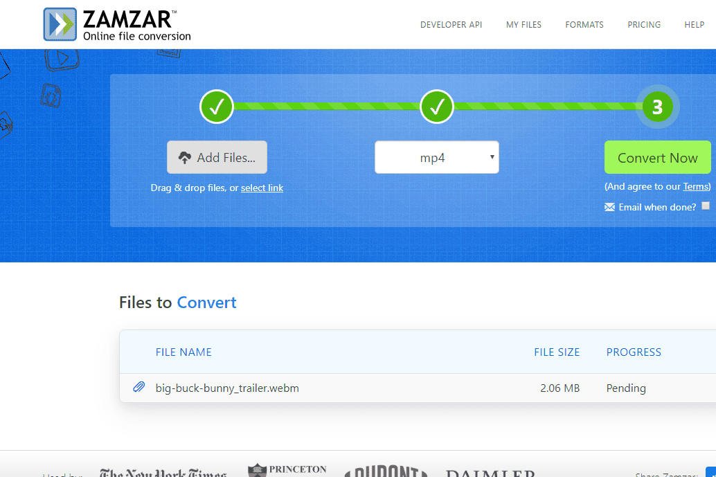 WEBM to MP4 conversion on Zamzar