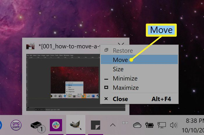 Windows right-click on thumbnail window with Move highlighted