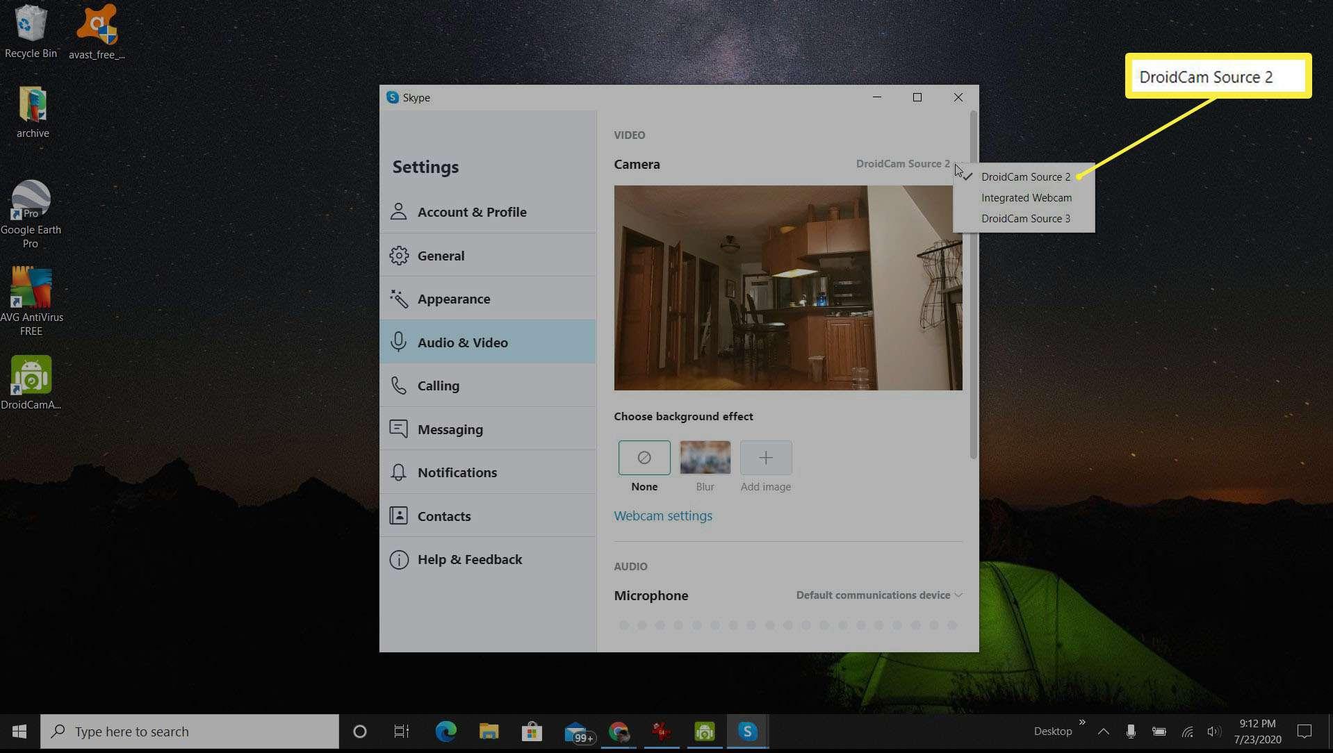 Screenshot of selecting DroidCam source in Skype.