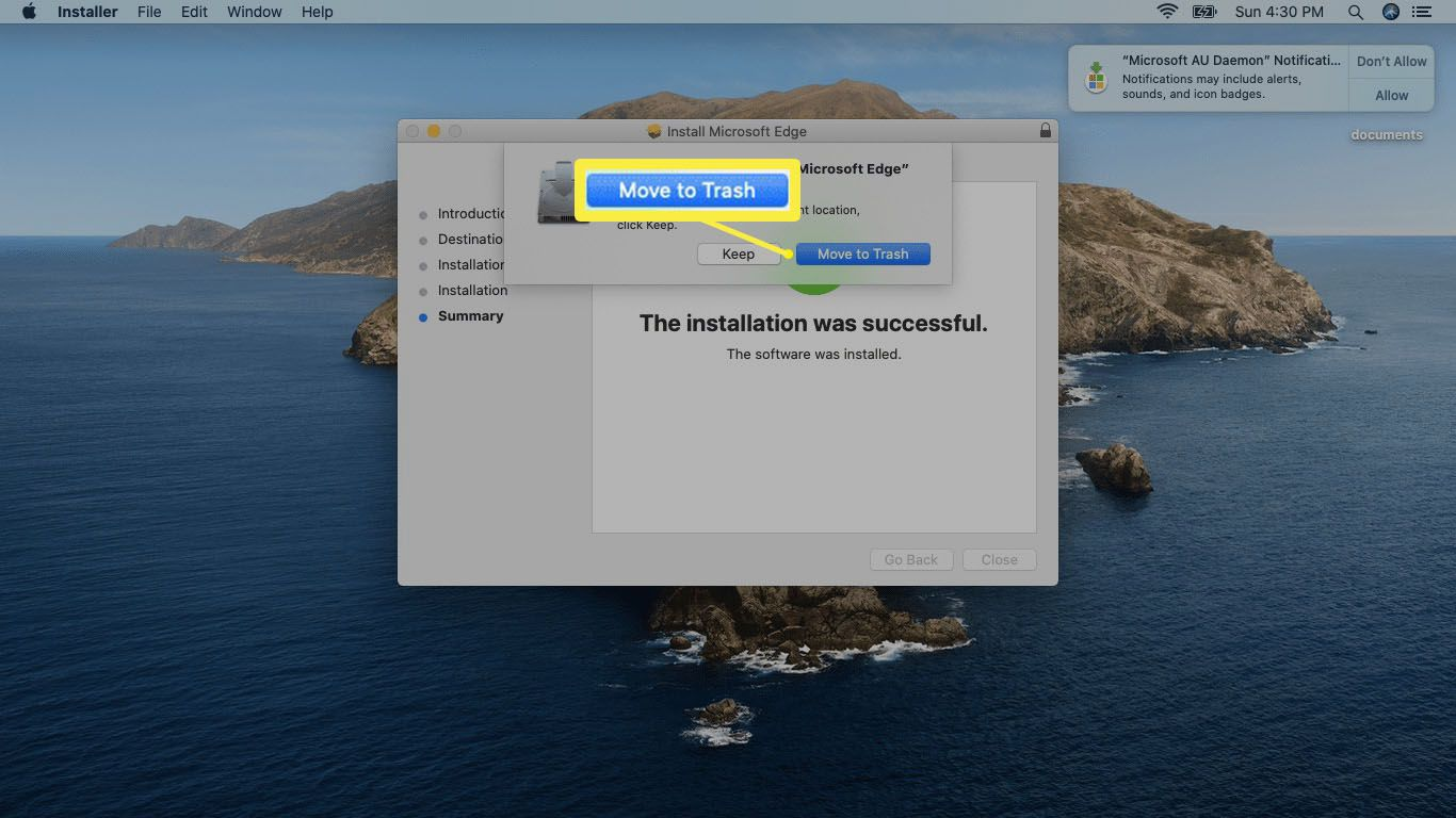 A screenshot of deleting the Edge installer on Mac.