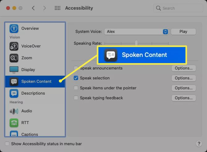 Mac accessibility settings with the Spoken Content option highlighted
