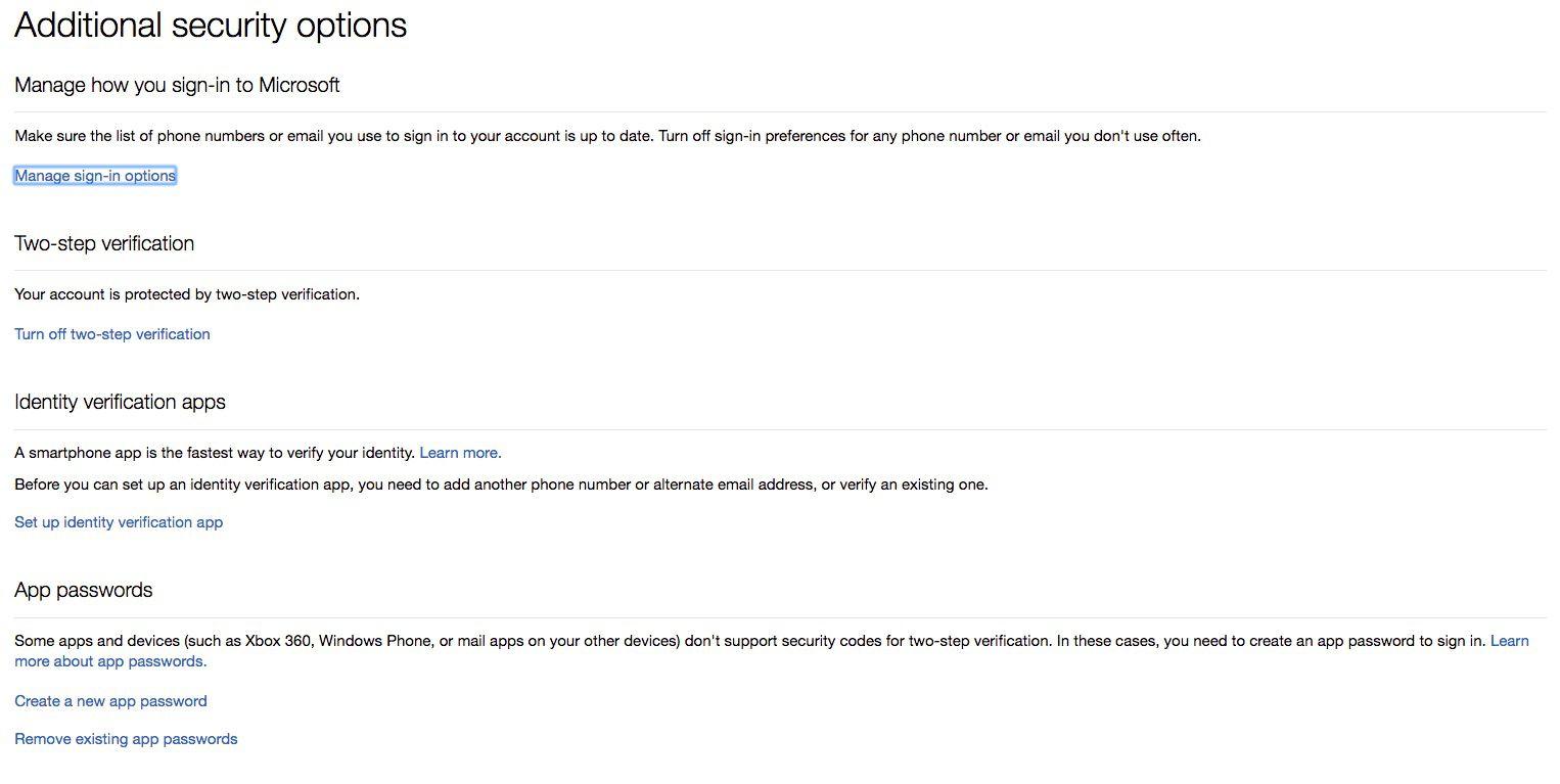 Screenshot of App Passwords section in Outlook.com security options