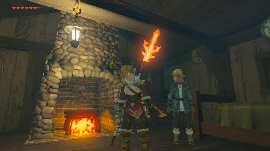 Link wields the Flamespear in Zelda BOTW