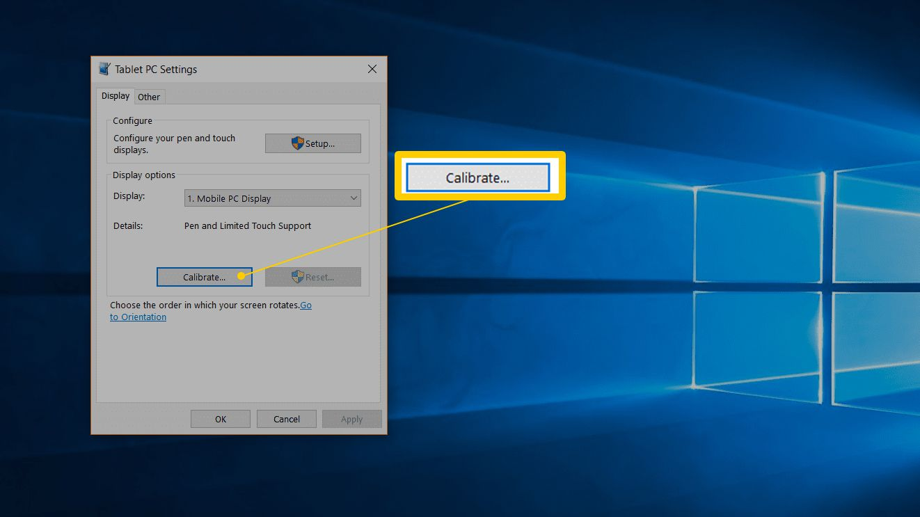 Calibrate button in Tablet PC Settings
