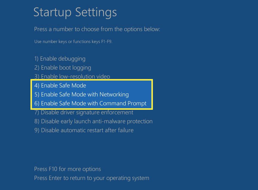 Windows 10 Advanced Startup Options screen for Safe Mode.