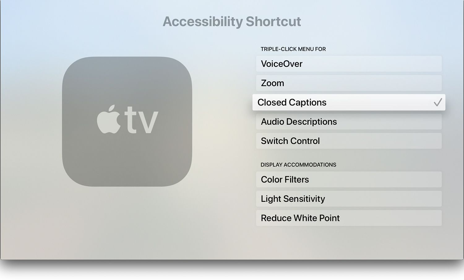Accessibility Shortcut on Apple TV