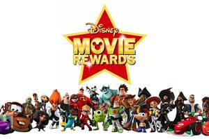 Disney Movie Rewards logo with characters.
