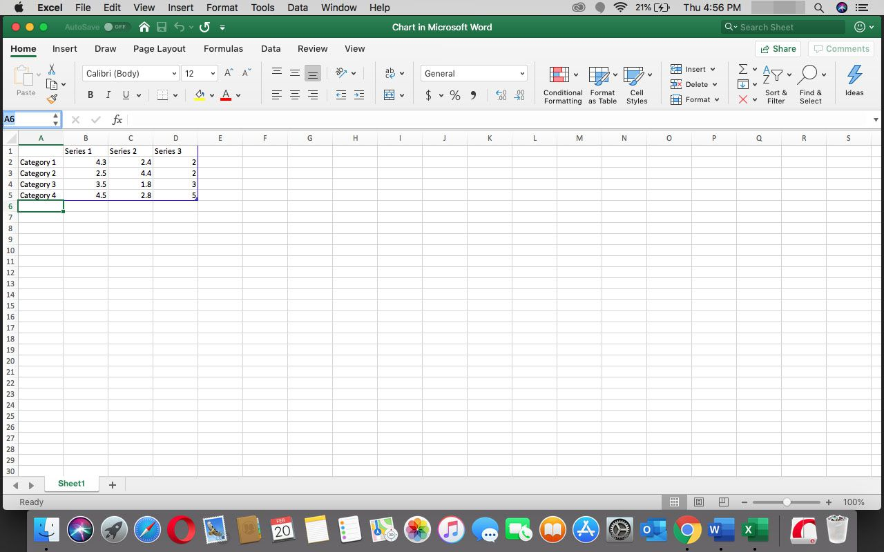 A spreadsheet in Excel.