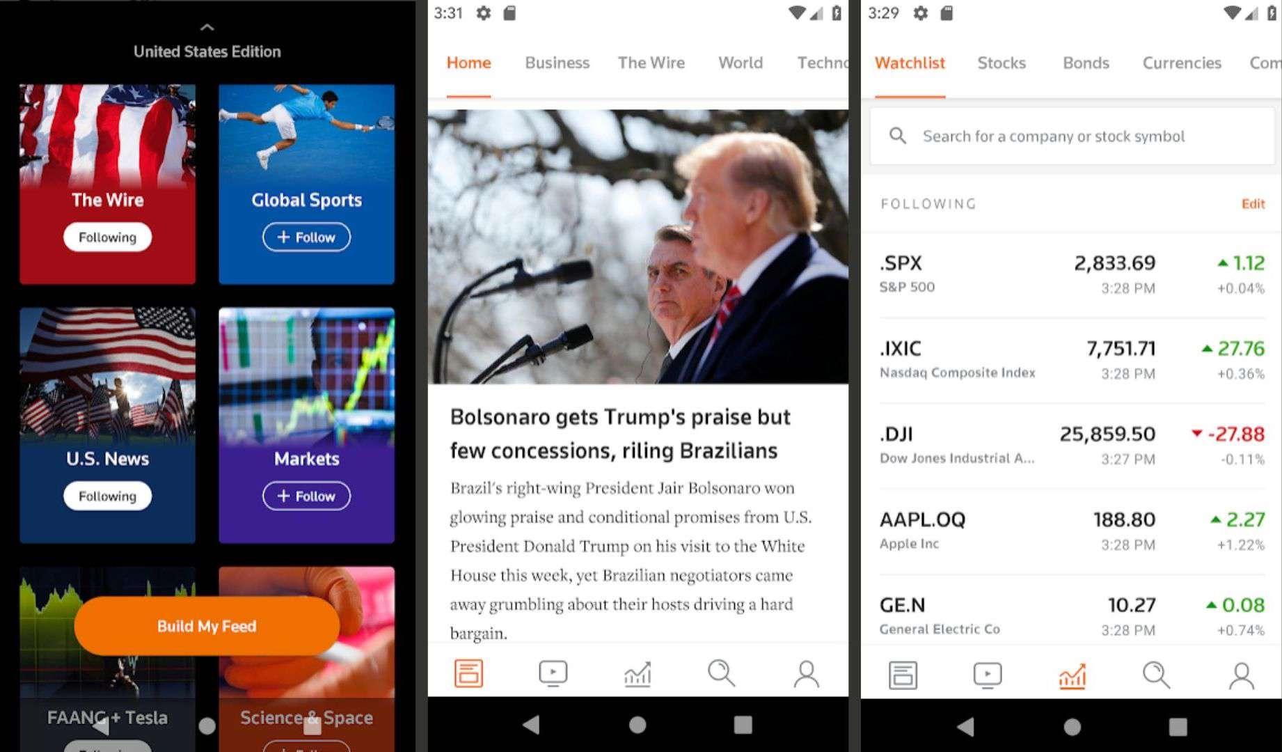 Three screenshots of the Reuters app.
