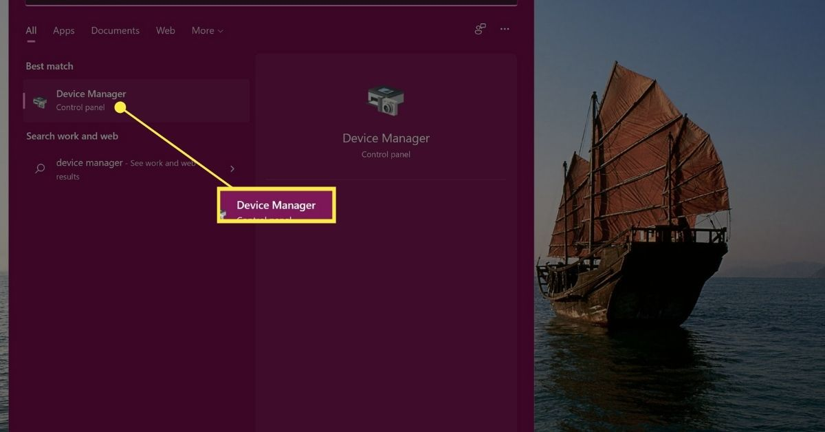 Device Manager in Windows 11 Start menu search results