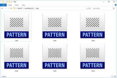 Screenshot of several PAT files in Windows 10