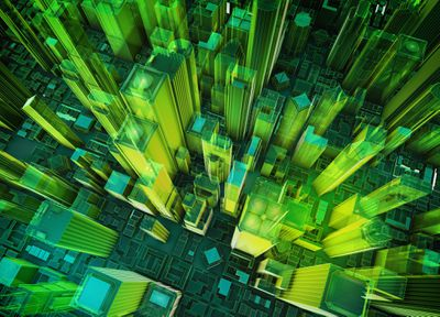 Aerial view of green and yellow 3D rendered buildings