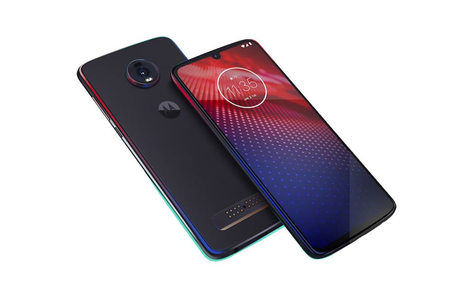 Moto Z4 smartphone front and back