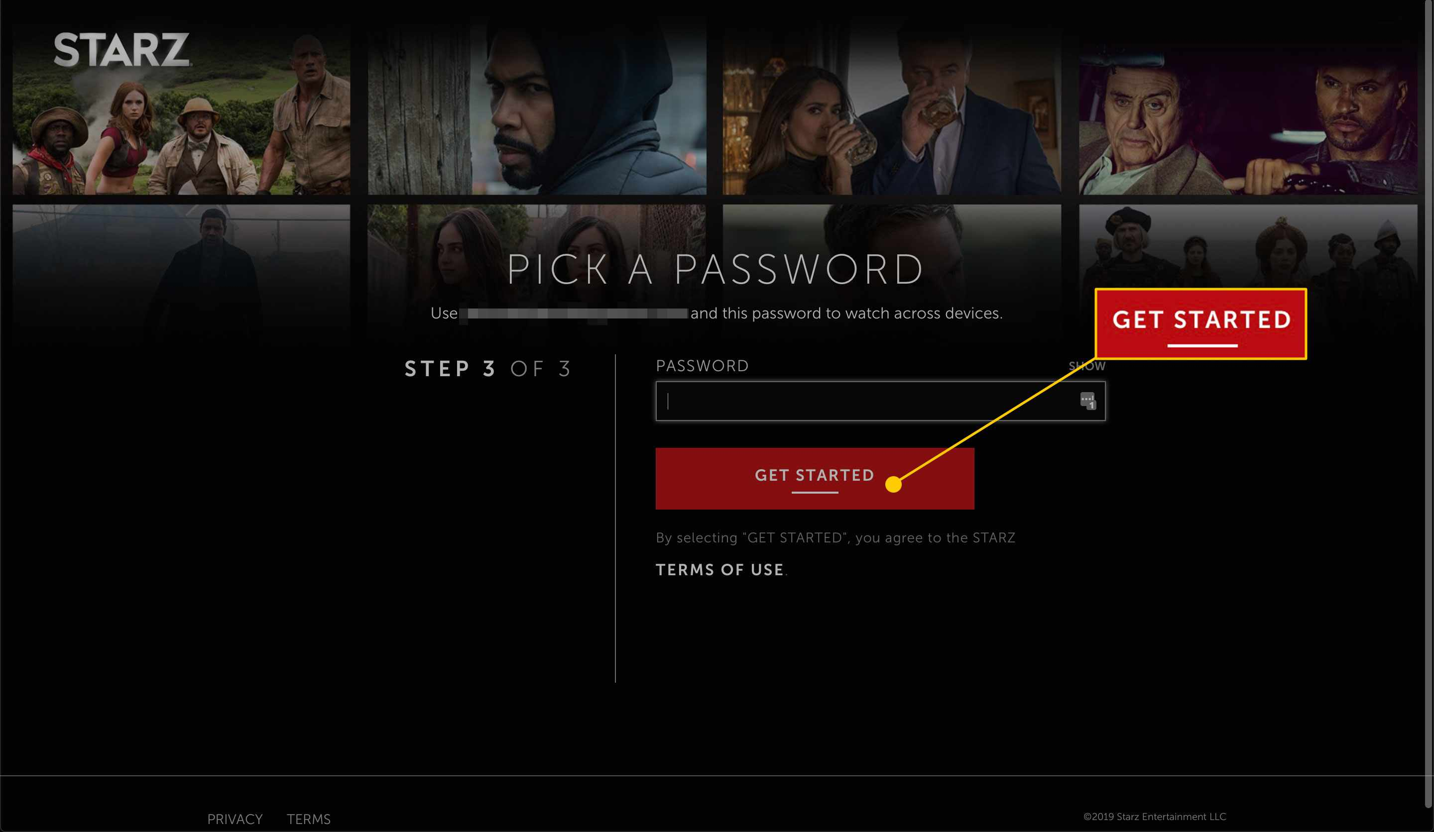 Starz account setup page with the Get Started button highlighted