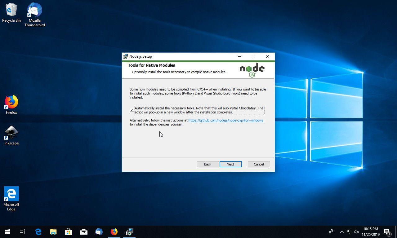Node JS install native Windows modules